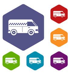 minibus taxi icons set vector image