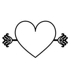 monochrome contour with big heart crossed by arrow vector image