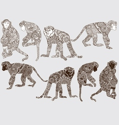Monochrome monkey style mehendi vector image