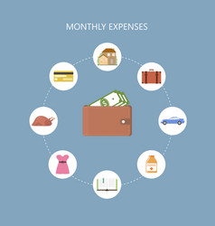 Monthly expenses concept vector