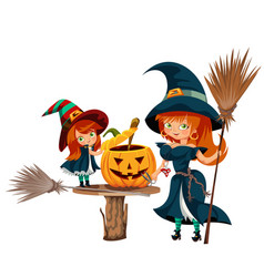 mother and daughter in halloween costumes poster vector image