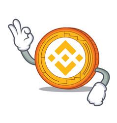 Okay binance coin character catoon vector