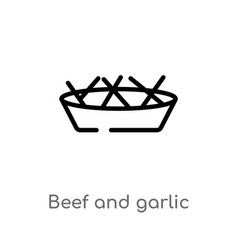 outline beef and garlic icon isolated black vector image