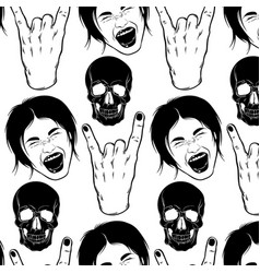 pattern with hand drawn screaming girl skull vector image