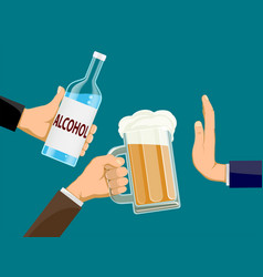 People is holding a bottle alcohol vector