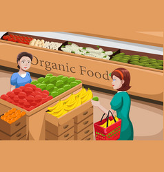 People shopping for organic food vector