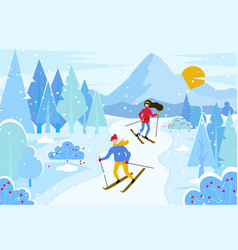 people skiing in resort winter landscape vector image
