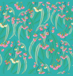 Pink eucalyptus blossom seamless repeat vector