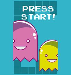 Press start videogame banner vector