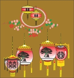 Red Lantern in decorative vector