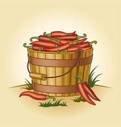 retro bucket chili peppers vector image