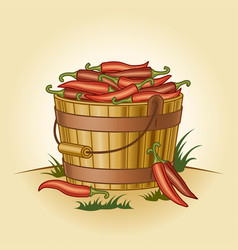 Retro bucket of chili peppers vector