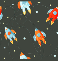 rocket flat seamless pattern for project start up vector image