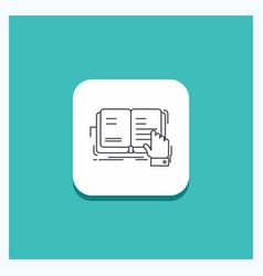 Round button for book lesson study literature vector