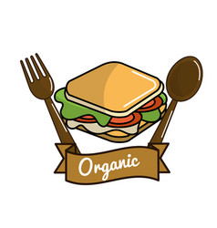 Sandwich icon with spoon and fork organic concept vector