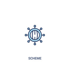 Scheme concept 2 colored icon simple line element vector