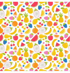 seamless pattern with hand drawn cartoon fruit vector image
