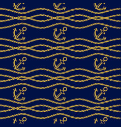 Seamless pattern with ropes and anchors dark blue vector