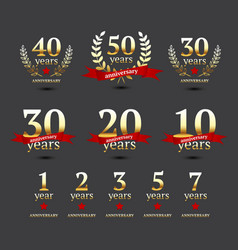 Set anniversary golden signs vector