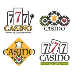 set four casino online logos for gambling sites vector image
