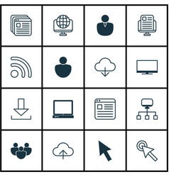 Set of 16 world wide web icons includes display vector