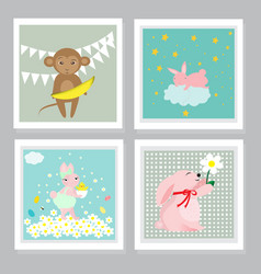 set of greetings cards with cute animals vector image