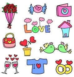 Set of love doodle vector