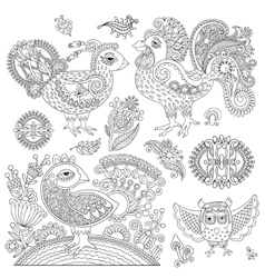 set of original black and white line art rooster vector image