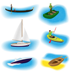 Set of six different kind boats isolated on a vector
