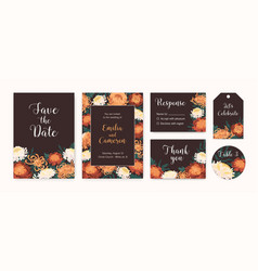set wedding invitation cards with autumn vector image