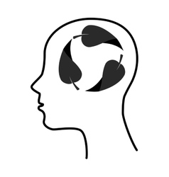 silhouette human leaf brain thinking idea isolated vector image