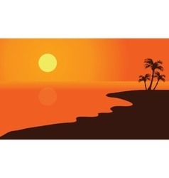 Silhouette of summer beach vector image