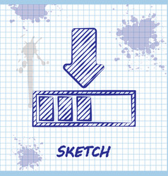 Sketch line loading icon isolated on white vector