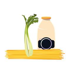 Spaghetti scallion and milk bottle vector
