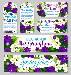 Spring sale tag discount offer label with flower vector