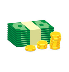 Stacks gold coins and dollar cash in flat vector