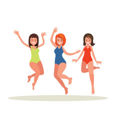 three girls jumping on white background vector image