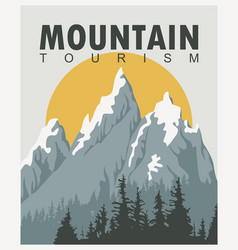 Travel banner with mountains and sun vector