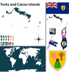 Turks and Caicos Islands map world vector image