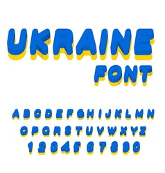 Ukraine font Ukrainian flag on letters National vector image