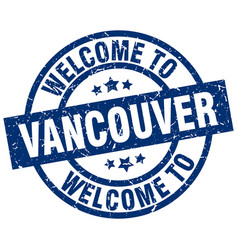 Welcome to vancouver blue stamp vector