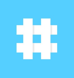 white hashtag icon on blue background vector image
