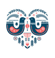 winter folk art seamless pattern in scandinavian vector image