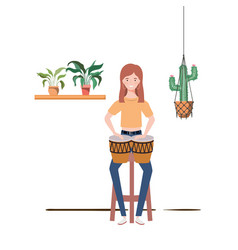 Woman with congas and houseplants on macrame vector