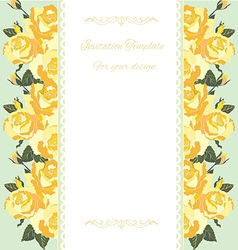 Yellow rose border floral card vector image