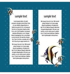Angelfish on a blue background with card for text vector image