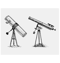 astronomical telescope vintage engraved hand vector image