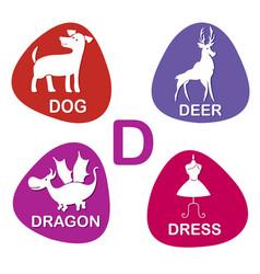 cute alphabet in d letter for dog deer vector image