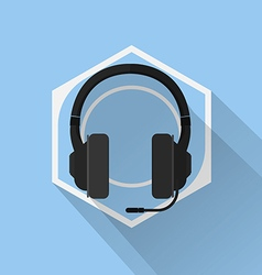 Gaming Gear Flat Icon Headphone vector image