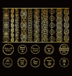 round gold borders and golden frames set on the vector image